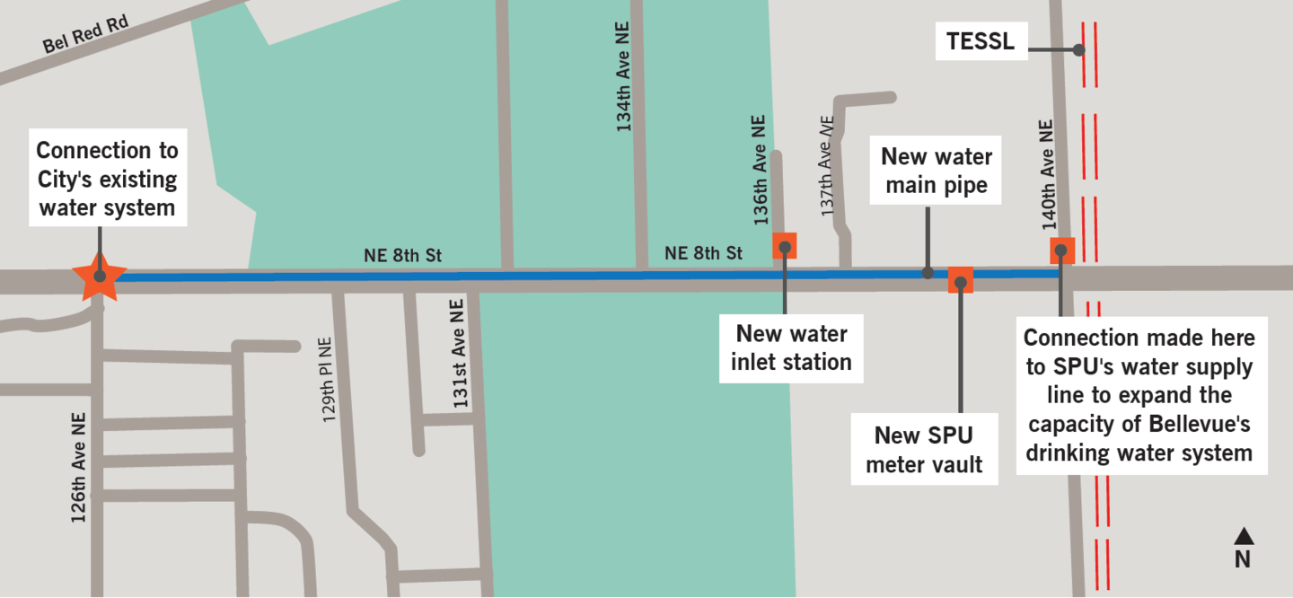 136th Ave NE water inlet station construction map