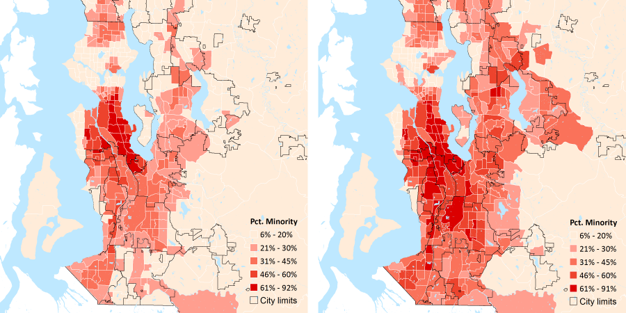 image of Percent Minority in 2000 and 2010 by Census Tract