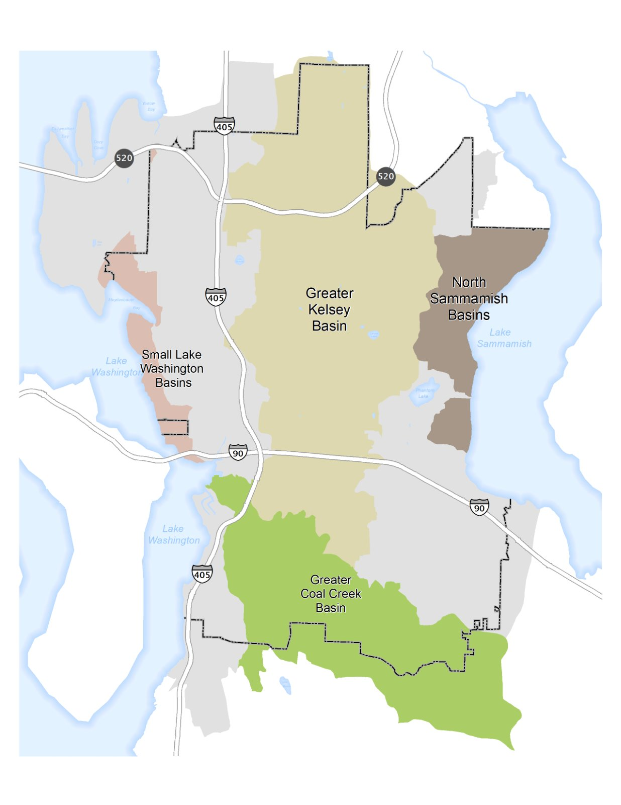 City of Bellevue Greater Combined Storm Drainage Basins Map