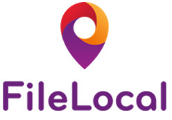 "image of Logo Purple Orange and Red FileLocal Pin with ""File"