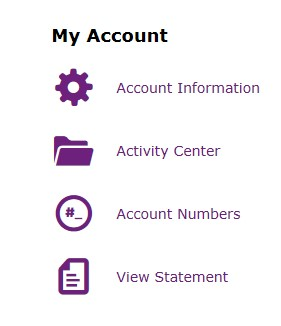 Picture of My Account column and the Activity Center selecti