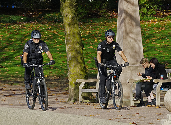 The police bike patrol at Downtown Park