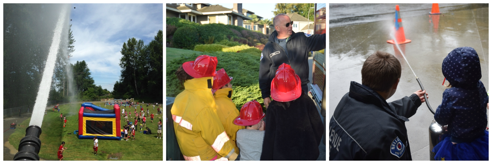 Image of three events where firefighters are interacting wit