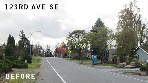 image of 123rd Ave SE sidewalk before construction