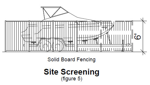 image of site screening with solid board fencing and boat