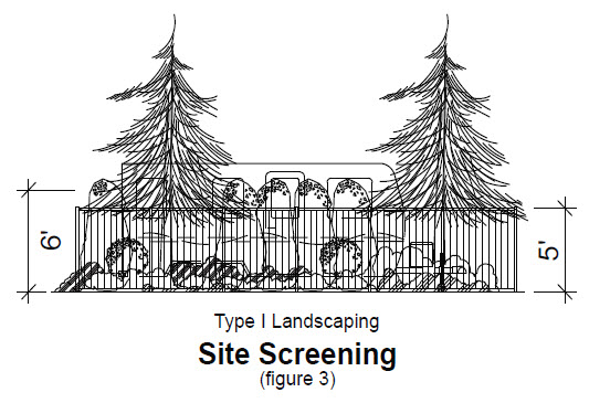 image of Type 1 landscaping to screen boat in EBCC