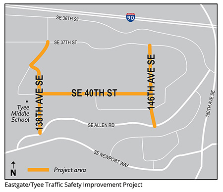 Eastgate/Tyee Traffic Improvement Map