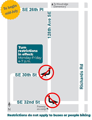 Woodridge Turn Restrictions Graphic