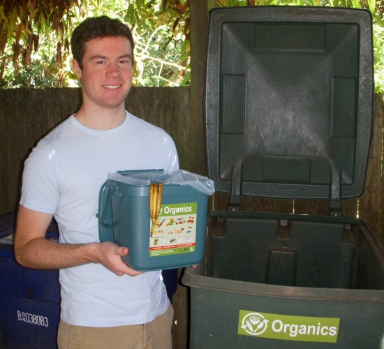 Young man composting