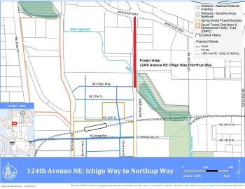 image of 124th Avenue Northeast map, Ichigo to Northup