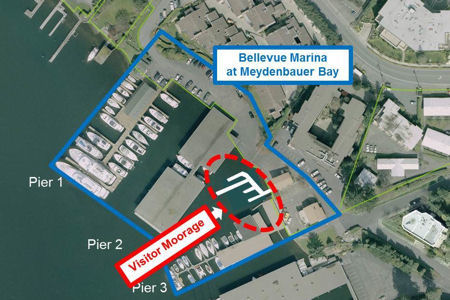 Overhead graphic of Bellevue Marina indicating visitor moora