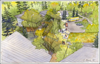 Overhead rendering of the Mercer Slough Environmental Educat