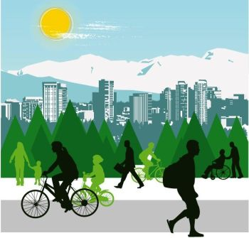 image of pedestrian and bicyclists illustration