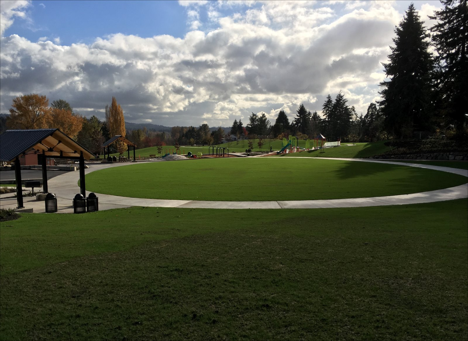 Photo of Surrey Downs Park construction with newly-planted l