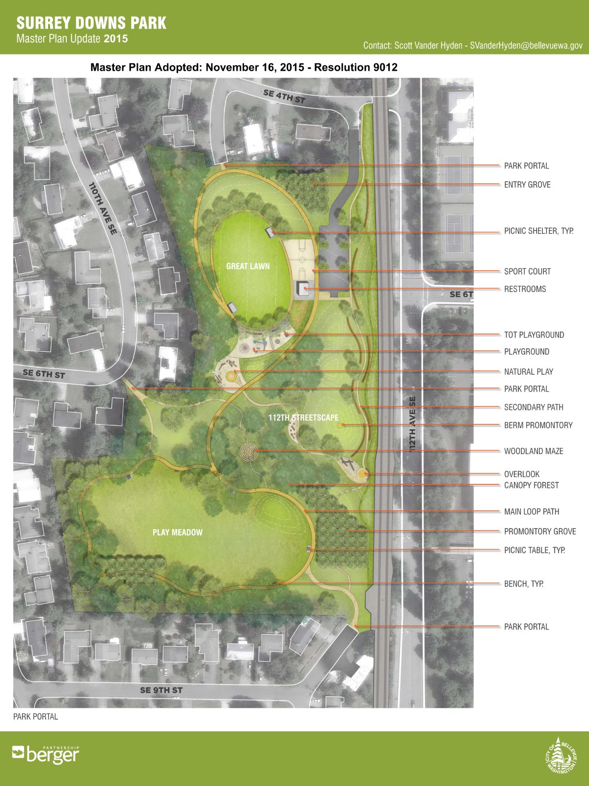 Surrey Downs Park Master Plan - see text below for descripti