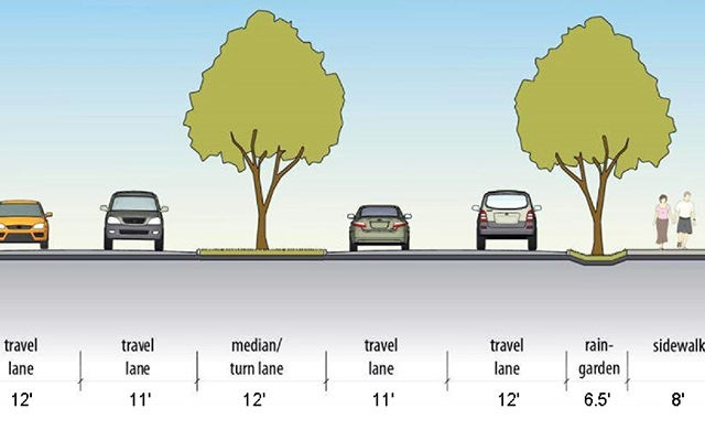 The revamped 124th Avenue Northeast is visualized with additional lanes and a sidewalk.