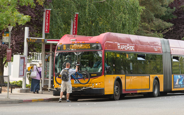 Image of a RapidRide bus in Bellevue
