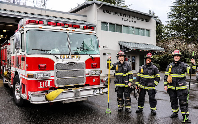 Firefighters stand in front of Station 9. PNW Thinline Photography