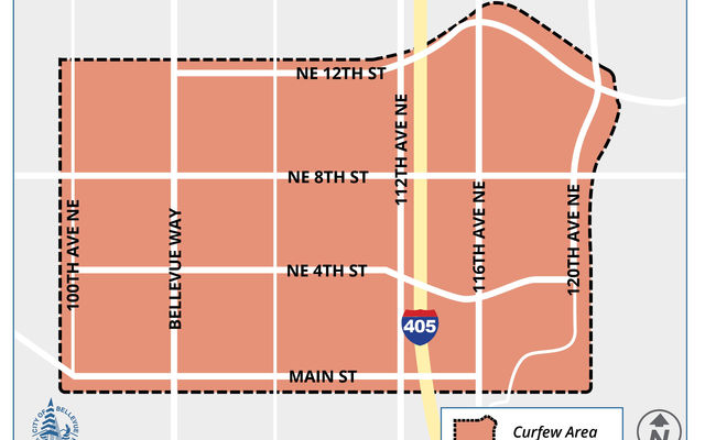 Map illustrates the curfew area downtown bounded approximately on the west by 100th Avenue Northeast, on the south by Main Street/Southeast First Street, on the east by 120th Avenue Northeast/Northeast First Street and on the north by Northeast 12th Street