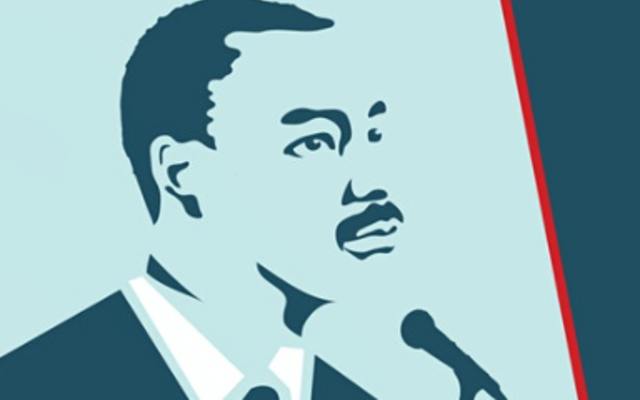Illustration of Martin Luther King Jr. in front of a microphone