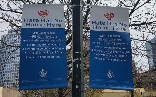 Hate Has No Home Here banners in downtown Bellevue