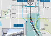 The map shows preliminary options for interchanges to I-405 in south downtown.