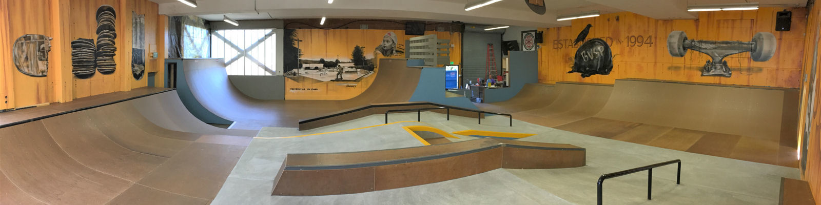 Indoor view of Bellevue Skate Park
