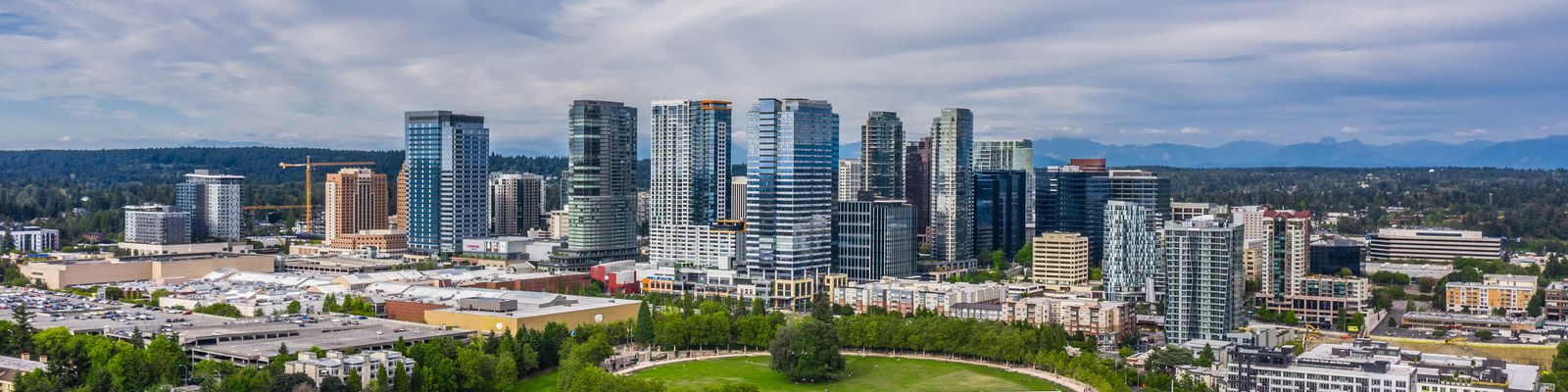Image of Bellevue Downtown skyline on a partly-cloudy day