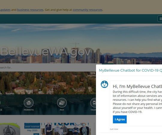 The MyBellevue chatbot appears on the city's home page.