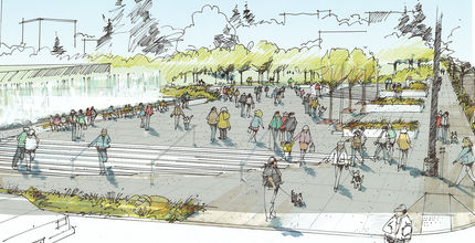 Visualization of the Downtown Park Northeast gateway now under construction