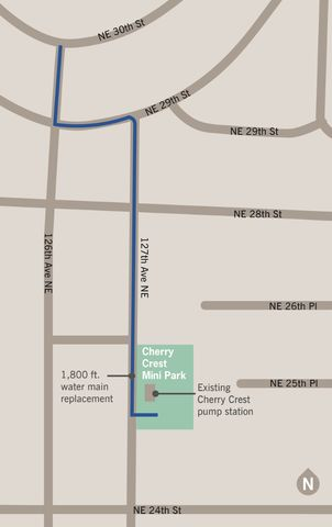 Cherry Crest New Water Main Alignment Map