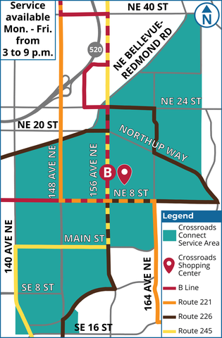 Map showing Crossroads Connect service area