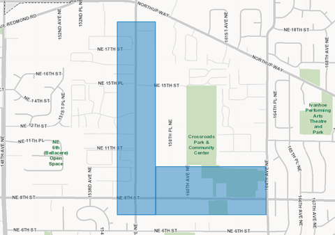 Image of map of crossroads area served by BellevueConnect_Ou