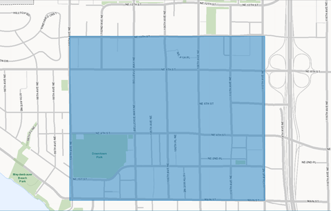 Image of map of downtown bellevue area served by BellevueCon