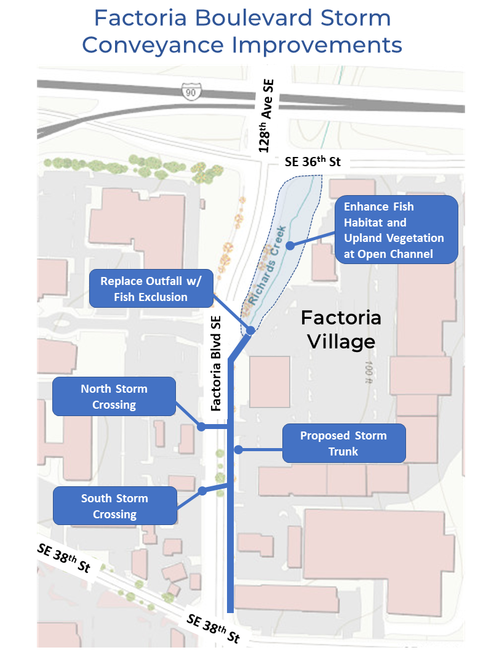 Map of project area for Factoria Boulevard Stormwater Conveyance Improvements project