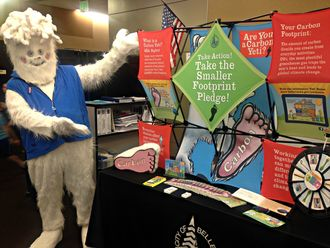 Carbon Yeti at a science fair booth.
