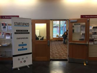 Photo of exterior of Startup 425 workshop, with Startup 425