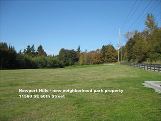 Newport Hills - new neighborhood park property at 11560 SE 6